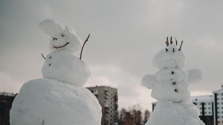 Один на лыжах, вторая нарядная в бусах: рассматриваем первых тюменских снеговиков