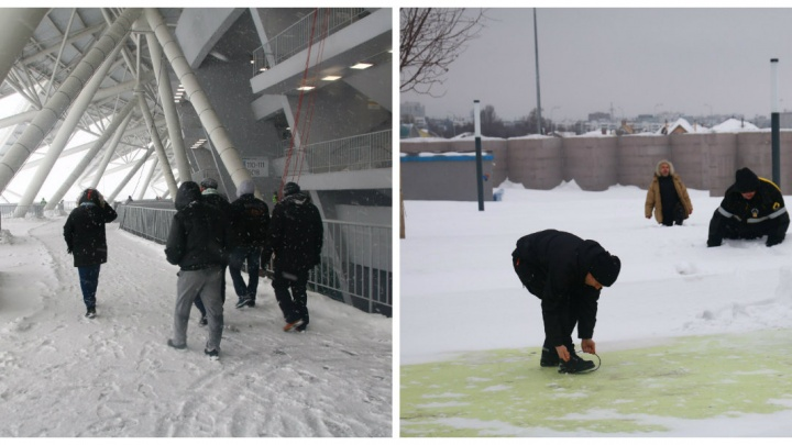 В сугробах и льду: смотрим, как «Самара Арена» пережила эту зиму