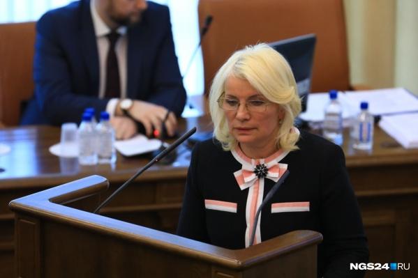 Татьяна Давыденко на той самой скандальной сессии Заксобрания