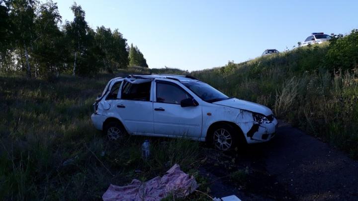 Уснула за рулём: жительница Башкирии опрокинулась на «Ладе-Калине» в Оренбургской области