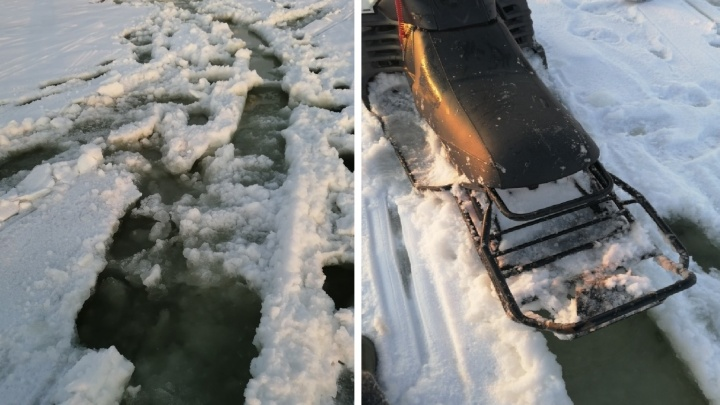 В Самарской области спасли двух мужчин, которые застряли на снегоходе посреди Волги