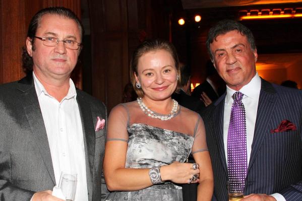 Алекс Солдатов с дочкой Машей и Сильвестром Сталлоне