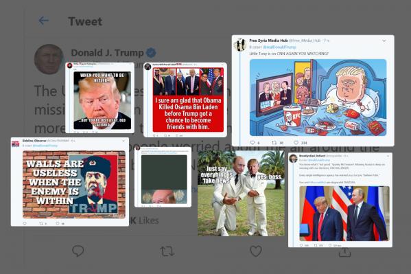 Президент США своим высказыванием дал повод вспомнить актуальные карикатуры, мемы, а также фото с Владимиром Путиным