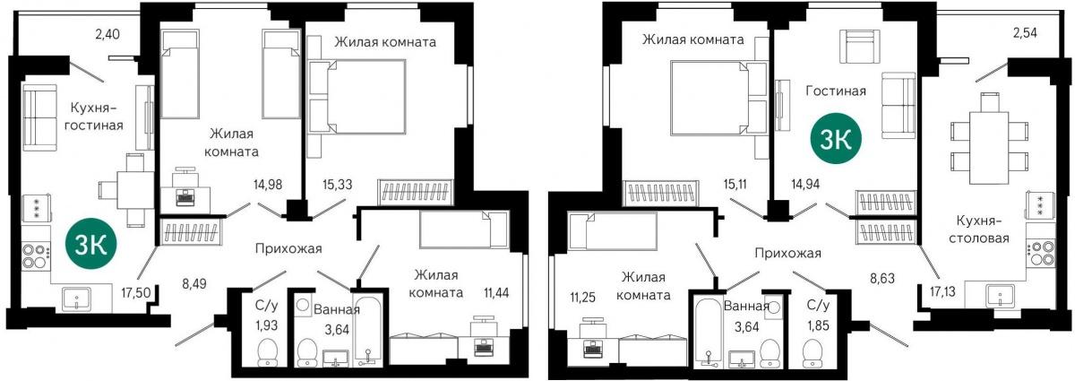Планировки трёхкомнатных квартир в ЖК «Сказы Бажова»