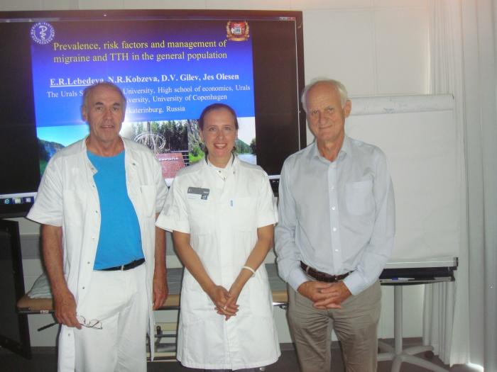 На фото доктор медицинских наук Лебедева Е. Р. после её лекции о головных болях в университете Копенгагена