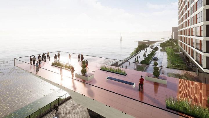 На берегу Оби строят роскошный жилой комплекс с 17-метровой аркой между корпусами