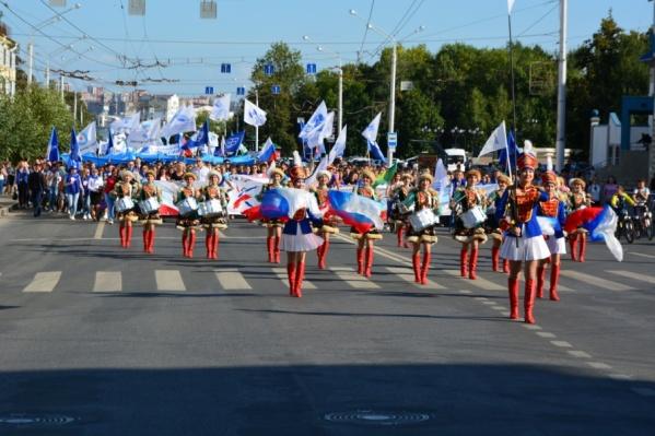 Уфимские студенты прошли пешей колонной
