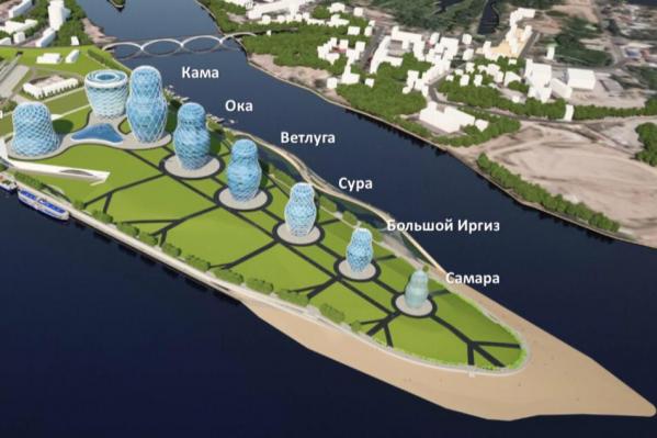 Необычные здания авторы проекта разместили вдоль берега