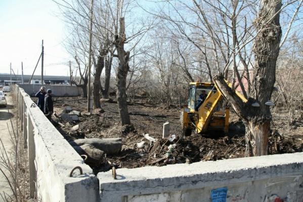 На заброшенном участке около развязки началась обрезка деревьев