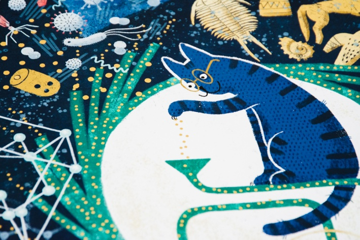 Иллюстрации для календаря выполнила новосибирская художница Елена Рюмина. Здесь кот&nbsp;— физик, он работает на «СКИФе»<br>