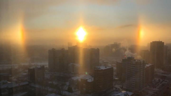 Из-за похолодания в небе над Новосибирском появилось гало