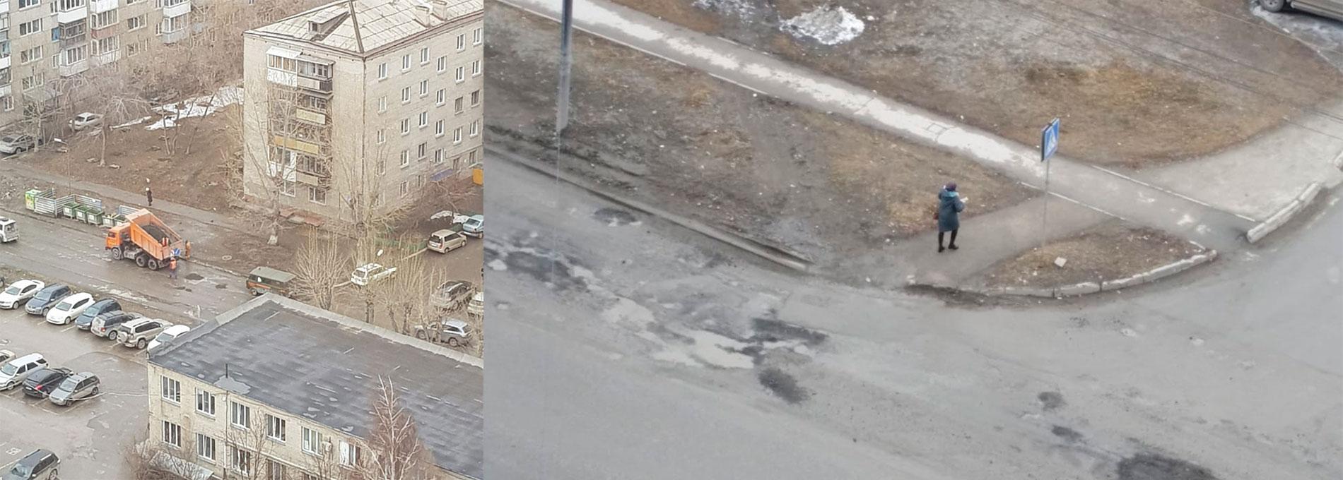 «Где дороги?»: улицы, где дорожники кидают асфальт в лужи, и дорога, где за день застревают 15 машин