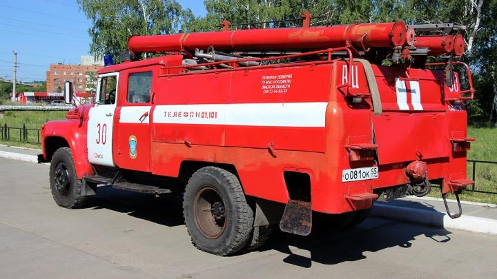 Омским спасателям пришлось спускать мать с детьми по спецлестнице из-за пожара