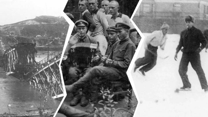 Взорванный мост и хоккей: на ж/д вокзале Архангельска открылась выставка фотоснимков военных лет