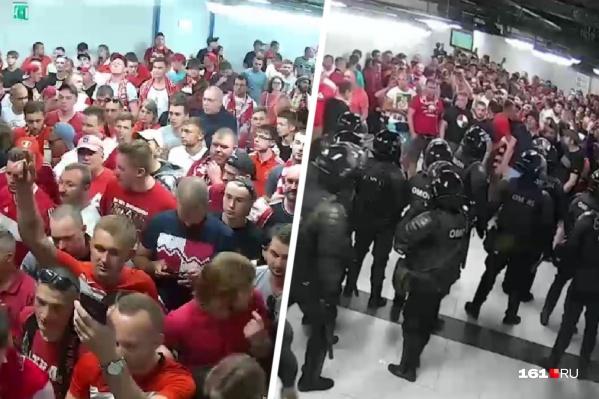 В новом ролике запечатлели момент столкновения омоновцев с болельщиками