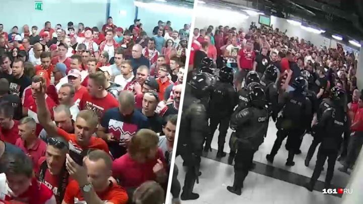 В Сети появилось новое видео столкновения фанатов «Спартака» и ростовского ОМОНа