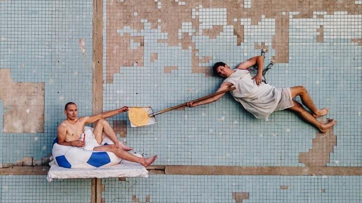 «Дарующий халяву»: самарский сварщик показал новый перформанс на стене высотки