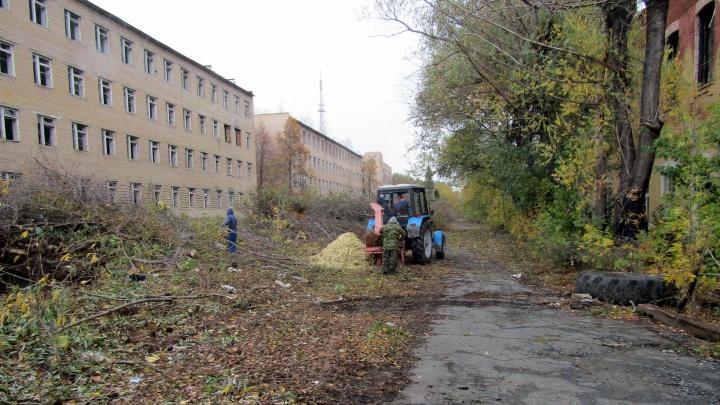 На площадке бывшего танкового училища начали рубить деревья под будущую стройку