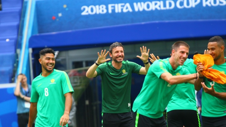 Смеялись и дурачились: на «Самара Арене» прошла тренировка сборной Австралии