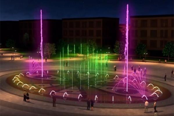 Кадр с видеопрезентации фонтана. Его вечерний вид
