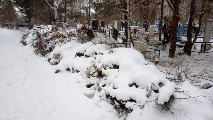 На кладбище возле Черлакского тракта два года не вывозили мусор с аллей