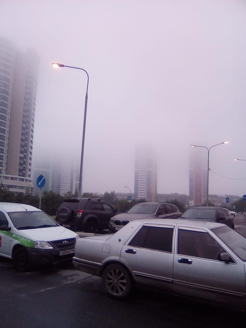 ЖК «Астра» в смоге и тумане. Высотки попросту не видно