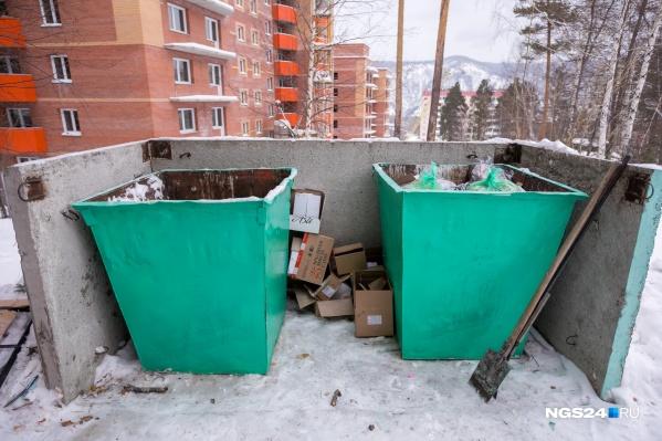 Во многих районах Красноярска чистые и пустые мусорные баки не видели уже давно