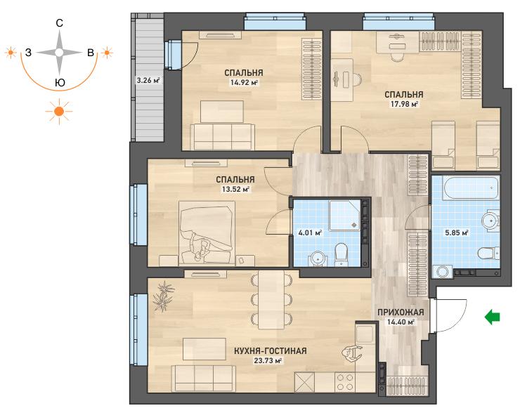 В трешкеЖК «WOODS. Дома в парке» есть ванная в спальне(вариант планировки)