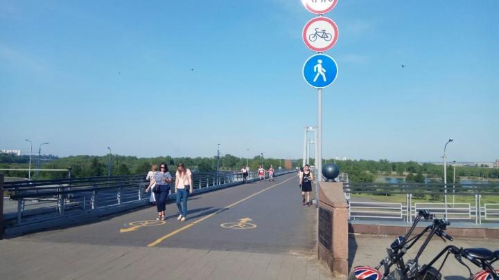 На вантовый мост запретили заезд велосипедистов