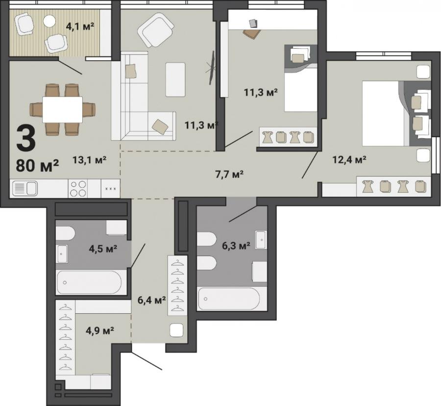 В этой квартире личное пространство хозяина можно выгодно отделить от гостевого