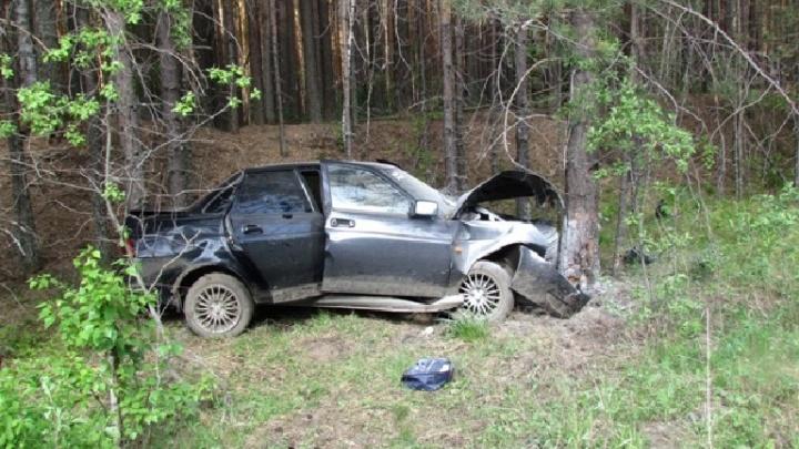 На Среднем Урале трое парней на Lada врезались в дерево по пути в военкомат