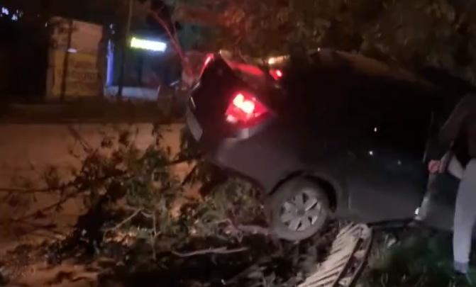 «Водитель признался сотруднику ДПС, что пил пиво»: на Летчиков Lada снесла забор и влетела в дерево