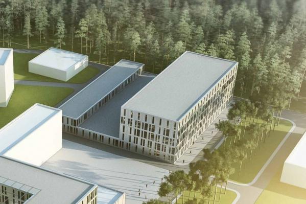 Новые корпуса займут территорию около уже существующих зданий клиники Мешалкина. На эскизе — производственный корпус