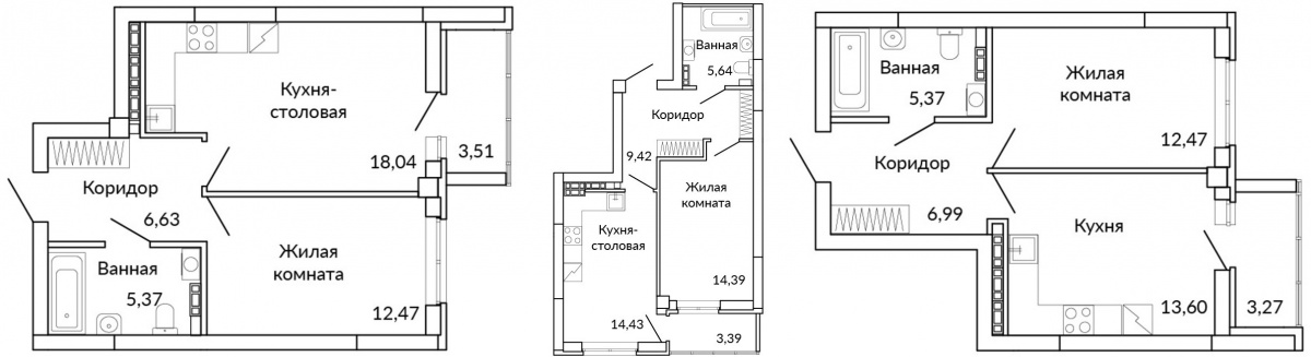 Варианты планировок однокомнатных квартир в классическом исполнении и в евроформате