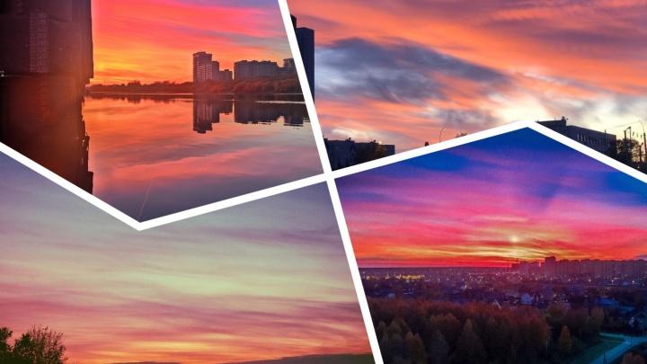 Закат, напоминающий разлитую лаву: любуемся 15 кадрами вечерней Тюмени