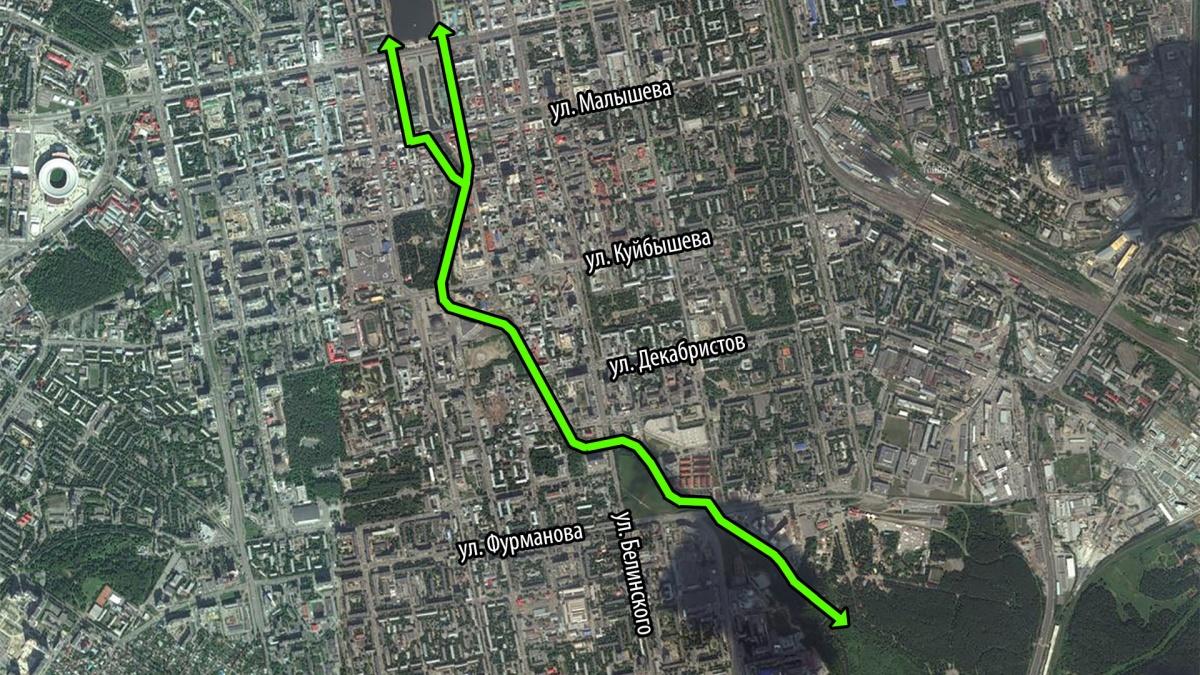 Велопешеходный маршрут вдоль Исети в центре Екатеринбурга