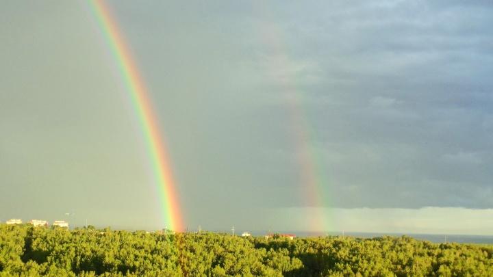 Над Новосибирском повисла двойная радуга