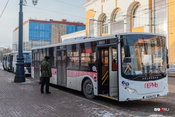 Автобусы будут красные с элементами пермского звериного стиля