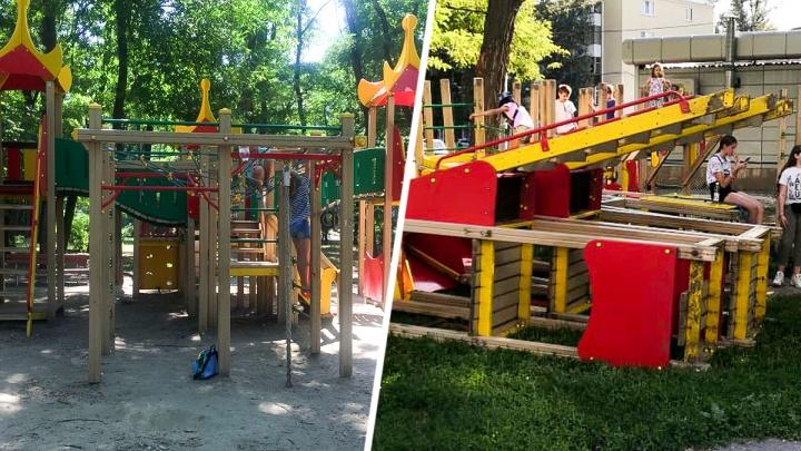 Эхо «масштабного проекта»: на разрушенной площадке в Ростове-на-Дону играют дети