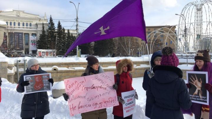 В центре Новосибирска прошел пикет против домашнего насилия