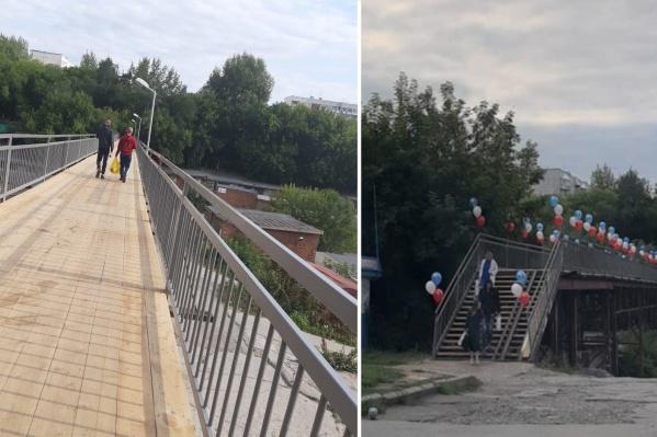 На День знаний мост к школе украсили воздушными шарами