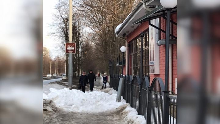 В Ярославле с крыши ресторана свалилась глыба льда: подробности