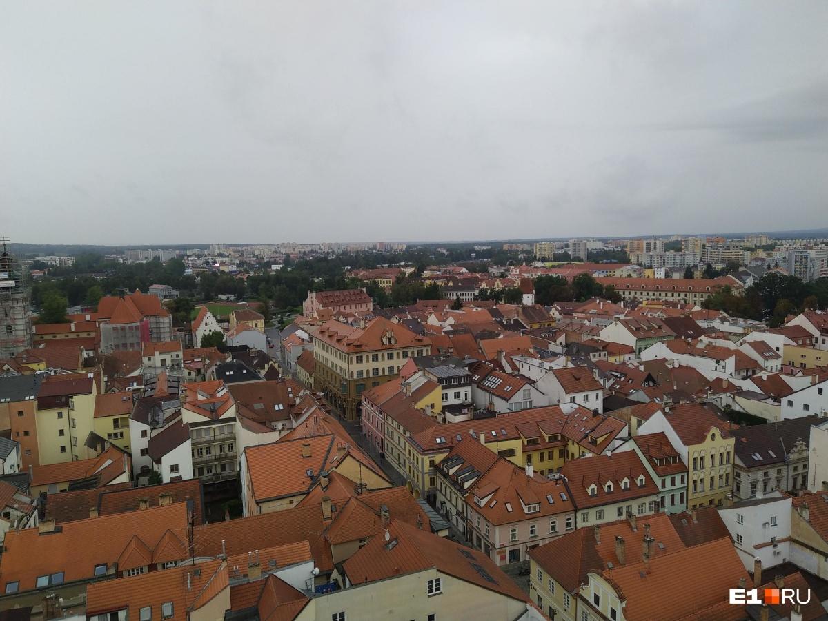 В центре много домов с оранжевыми крышами