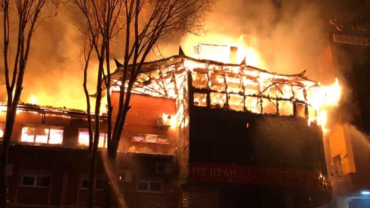 Появилось видео пожара в ресторане «Золотая Пагода»