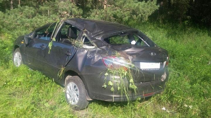 На башкирской трассе нетрезвый водитель улетел в кювет