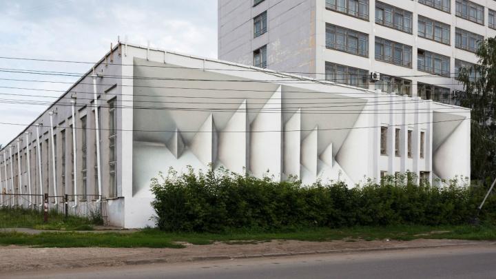На стене омского института нарисовали восьмиметровую оптическую иллюзию
