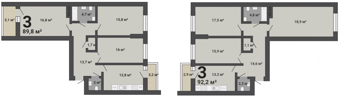 Варианты планировок готовых квартир в 14-этажном доме ЖК «Первый Николаевский»