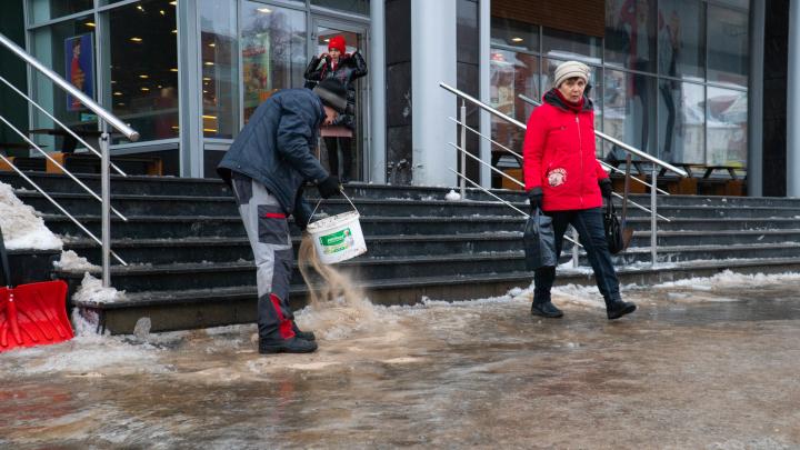 С зонтиками — штурмовать лужи и гололед: смотрим, как Архангельск переживает внезапное потепление