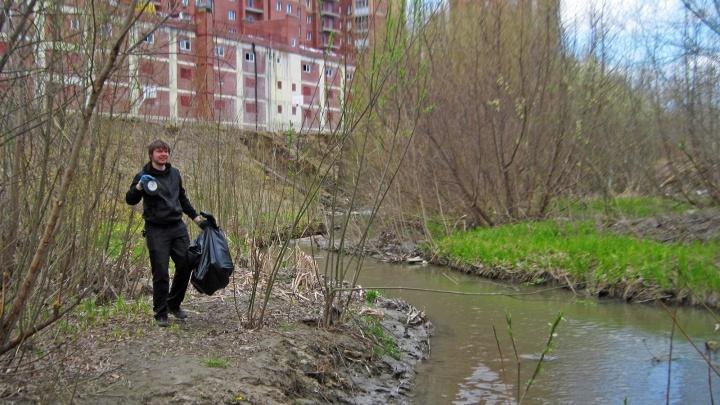 Новосибирцы убрали берег реки Ельцовка-1