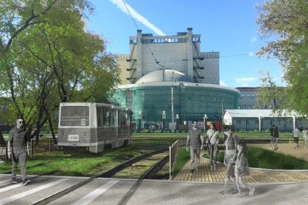 В сквере сделают площадку для скейтеров и трамвай, который никуда не поедет